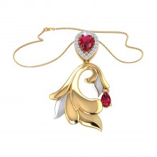 THE GLOWING RUBY PALM FROND PENDANT